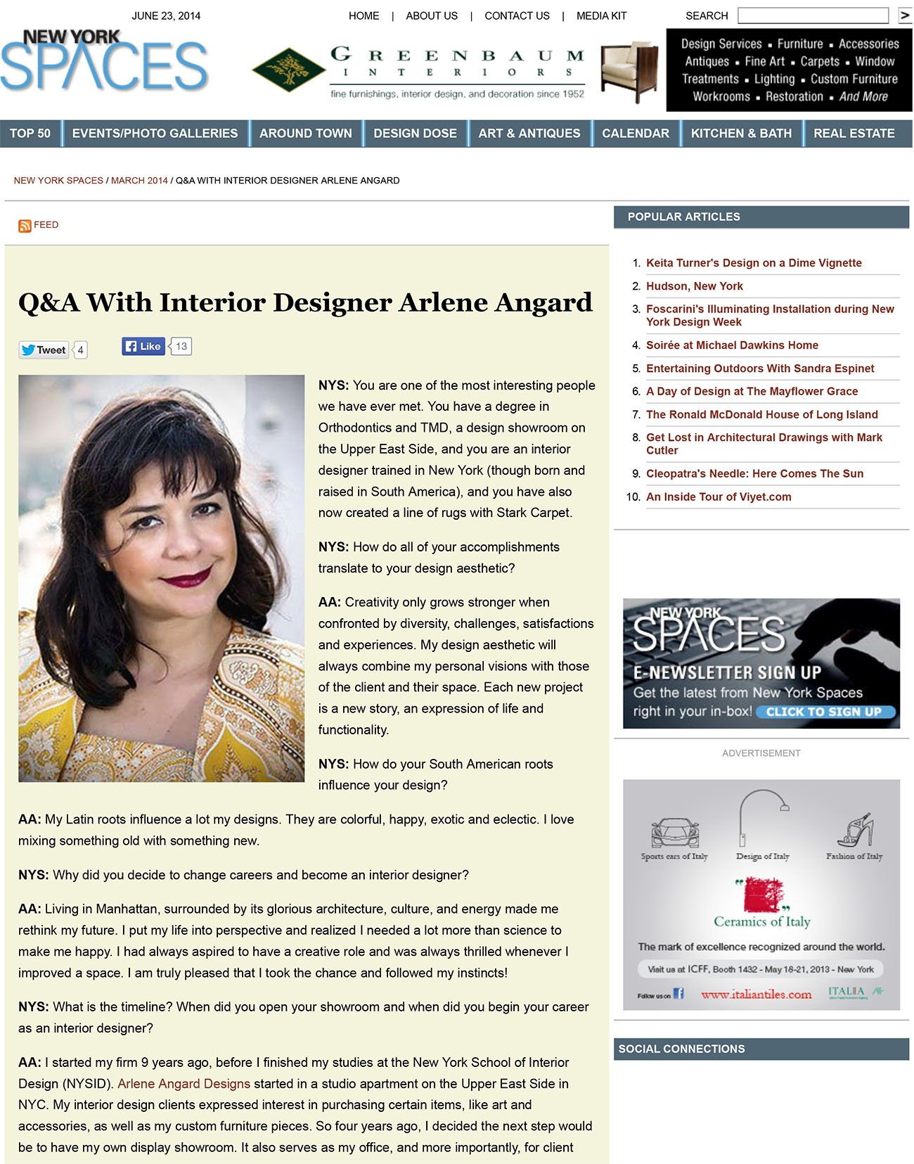 Q&A With Interior Designer Arlene Angard - New York Spaces - Mar